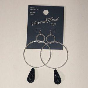Silver Hoop Earrings with Black Marbled Stone
